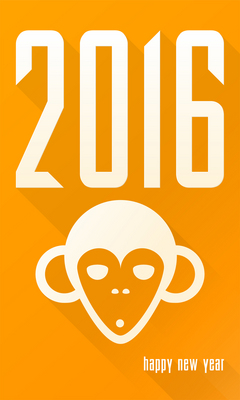 2016 Year of the Monkey New Year card